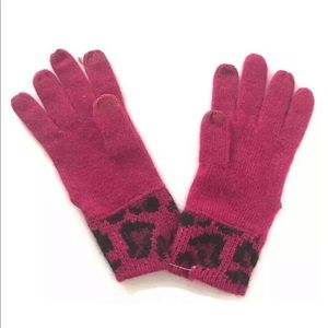 Coach Ocelot Tech Touch Knit Glove Multicolor Pink